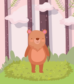 Fofo urso animal cartoon personagem floresta folhagem natureza