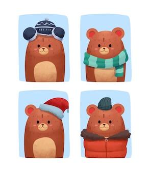 Fofo urso aquarela em roupas de inverno Vetor Premium