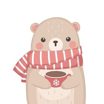 Fofo urso bebendo chocolate quente