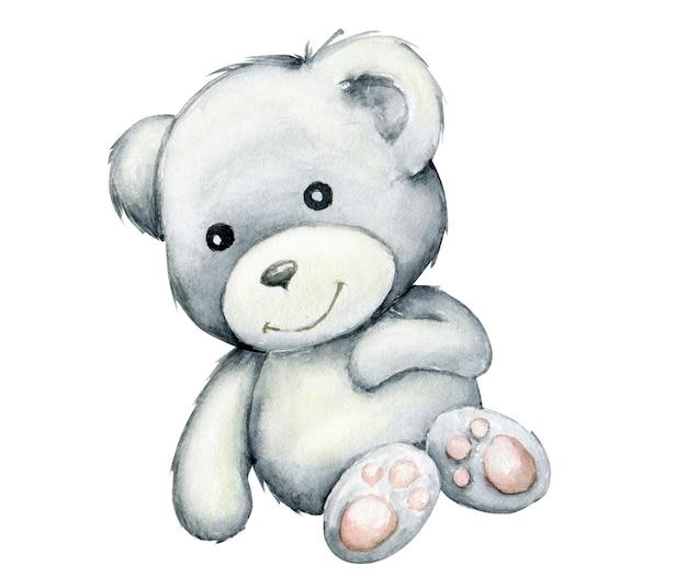 Fofo urso branco, deitado. aquarela, animal em estilo cartoon isolado