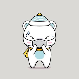 Fofo urso branco ficando doente com máscara médica