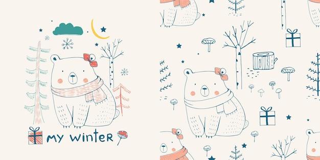 Fofo urso branco na floresta com padrão sem emenda. mão-extraídas ilustração vetorial