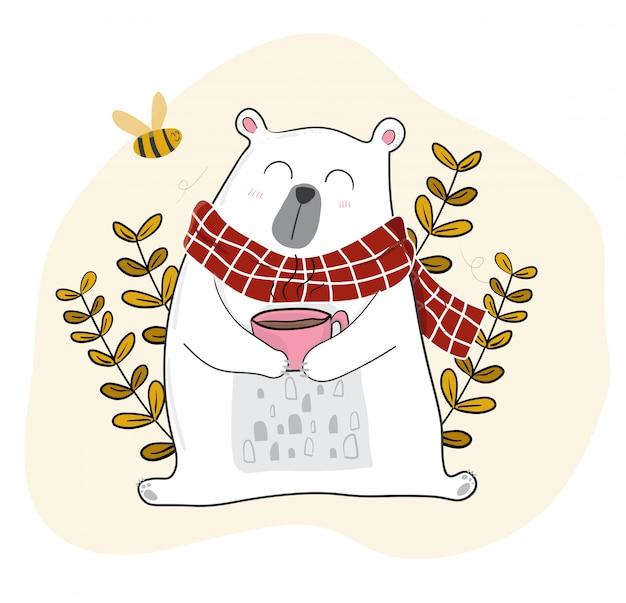 Fofo urso branco tomando café na temporada de primavera com uma pequena abelha