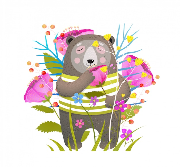 Fofo urso cheirando flor ilustração plana
