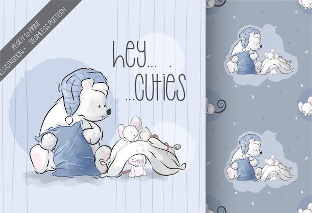 Fofo urso com bebê rato ilustração sem costura padrão