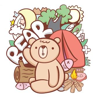 Fofo urso com camping e objetos naturais doodle