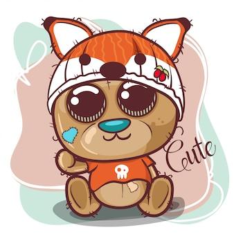 Fofo urso com chapéu de raposa - ilustração de stock
