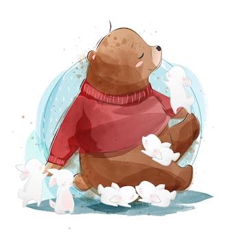 Fofo urso com coelhinhos