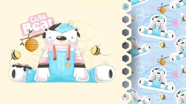 Fofo urso com colméia, design de criança