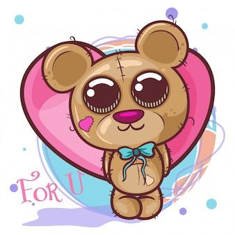 Fofo urso com corações - ilustração
