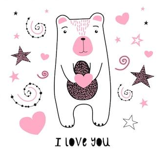 Fofo urso com estrelas e coração