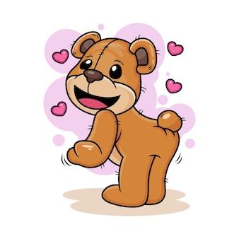 Fofo urso com ilustração do ícone dos desenhos animados de amor. conceito de ícone de animal isolado no fundo branco