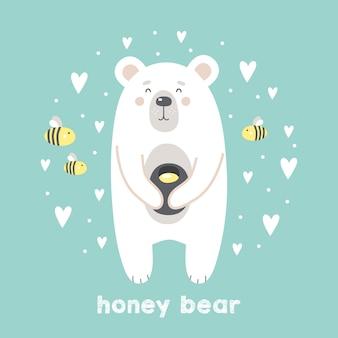 Fofo urso com mel e abelhas em fundo de hortelã