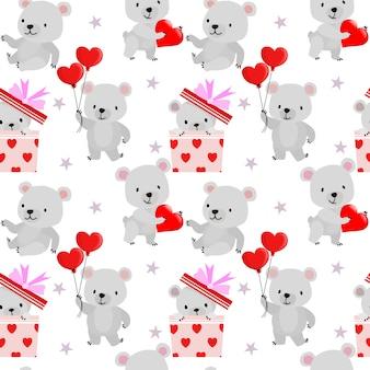 Fofo urso com padrão sem emenda do coração vermelho forma dos namorados.