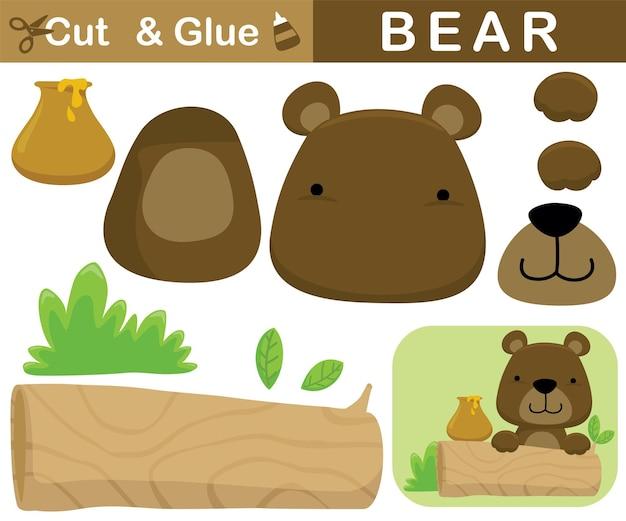 Fofo urso com pote de mel no toco de árvore. jogo de papel de educação para crianças. recorte e colagem. ilustração dos desenhos animados