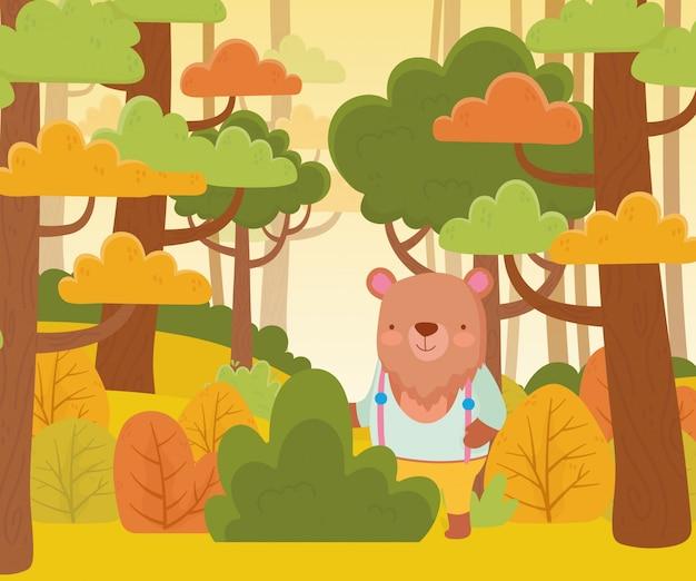 Fofo urso com roupas da natureza dos desenhos animados da floresta