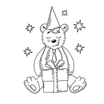 Fofo urso com um chapéu e um livro para colorir de presente para crianças. ilustração vetorial.