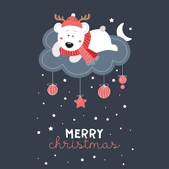 Fofo urso com um chapéu na nuvem. estrelas, neve, chapéu, lenço, flocos de neve. fundo escuro do vetor das crianças. feliz ano novo. feliz natal. 2020.