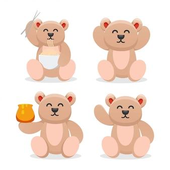 Fofo urso comendo macarrão e mel mascote dos desenhos animados