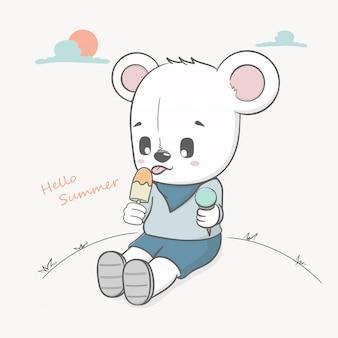 Fofo urso comer sorvete olá verão