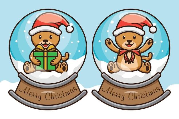 Fofo urso de natal dentro de bola de neve, globo de design ilustração vetorial