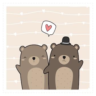 Fofo urso de pelúcia amante casal cartoon doodle papel de parede cartão-presente