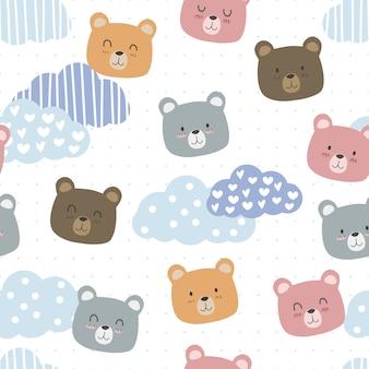 Fofo urso de pelúcia com desenho de nuvem doodle padrão sem emenda