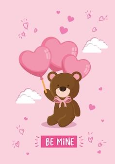 Fofo urso de pelúcia com ilustração de hélio de balões