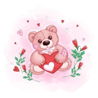 Fofo urso de pelúcia com um cartão em forma de coração e botões de flores