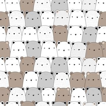 Fofo urso de pelúcia, desenhos animados polar doodle padrão sem emenda