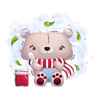 Fofo urso de pelúcia doente em um lenço e uma lata de geléia