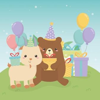 Fofo urso de pelúcia e cabra na cena da festa de aniversário