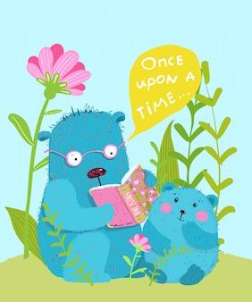 Fofo urso de pelúcia e filhote de urso lendo conto de fadas juntos crianças design de cartão de saudação.