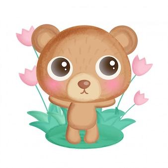 Fofo urso de pelúcia em pé no jardim de flores.