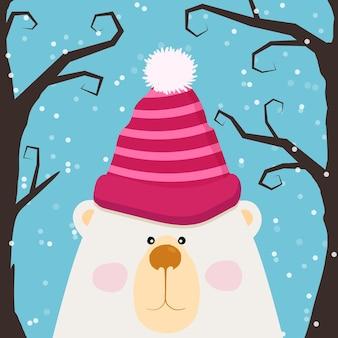 Fofo urso de pelúcia na tampa e bochechas rosadas, design para crianças, ilustração vetorial. cartão de natal e ano novo