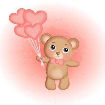 Fofo urso de pelúcia segurando balões.