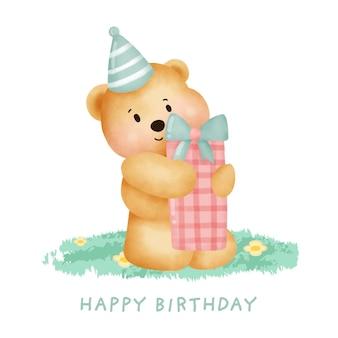 Fofo urso de pelúcia segurando uma caixa de presente para cartão de aniversário.