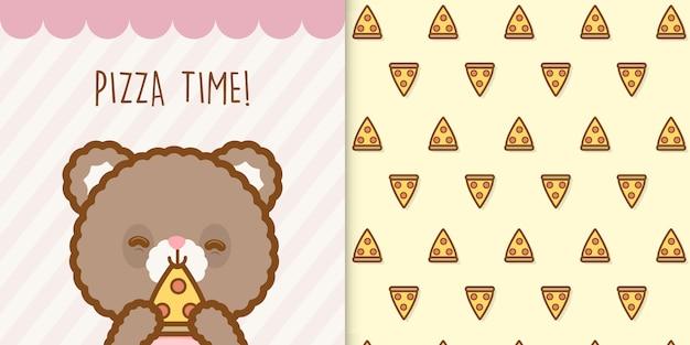 Fofo urso de pizza com um padrão sem emenda