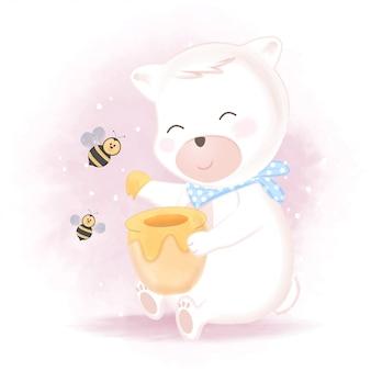 Fofo urso e abelha com ilustração de pote de mel