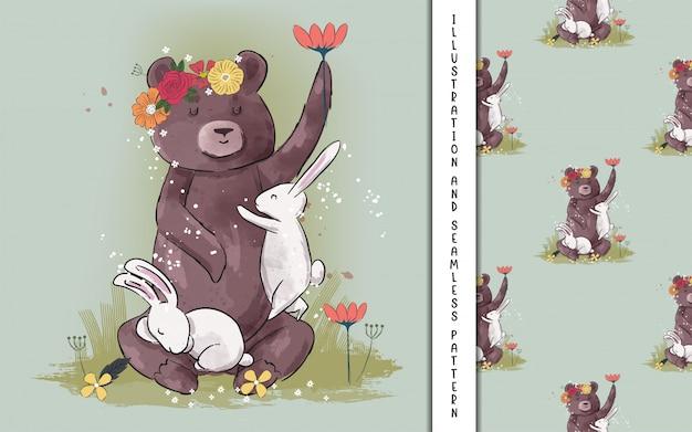 Fofo urso e coelho com flores para crianças