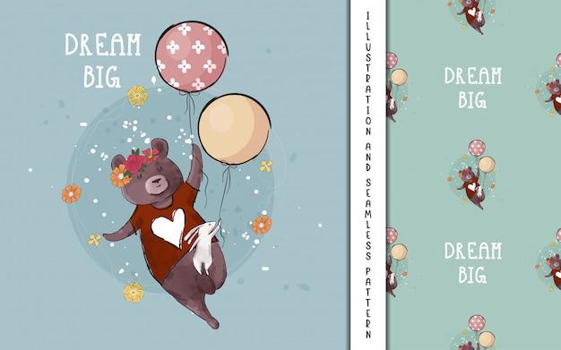 Fofo urso e coelho voando com balões para crianças