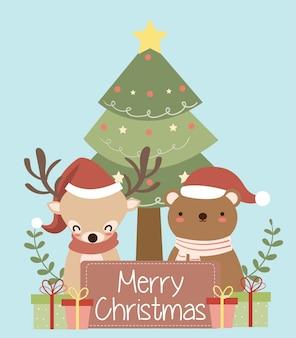 Fofo urso e renas com chapéu de papai noel para cartão de natal