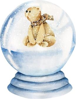 Fofo urso em aquarela dentro de uma bola de vidro nevado