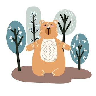 Fofo urso em um fundo de árvores. mão ilustrações desenhadas em estilo escandinavo