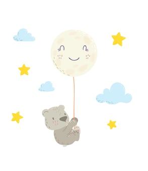 Fofo urso está voando no balão de ar da lua