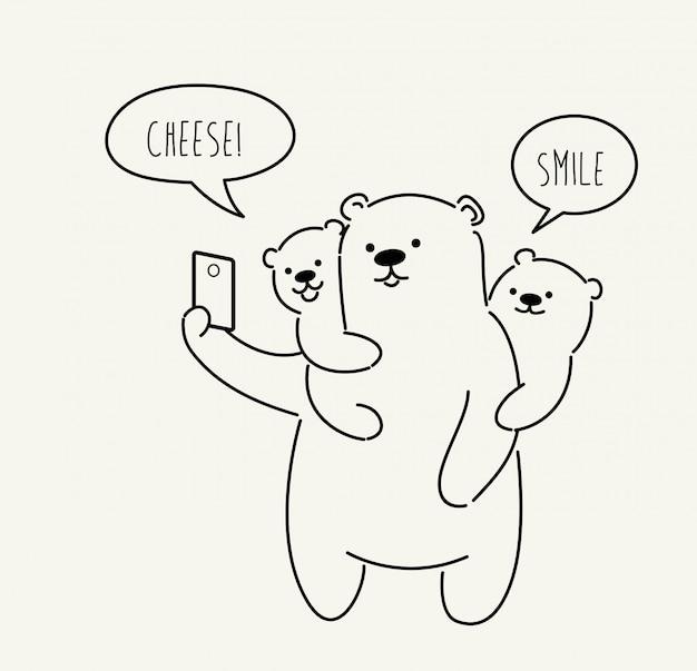 Fofo urso fazendo foto de selfie. ilustração