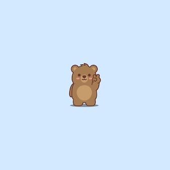 Fofo urso fazendo sinal de vitória
