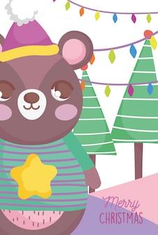 Fofo urso feliz natal