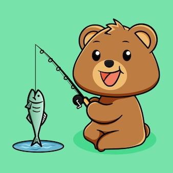 Fofo urso feliz pescando em fundo verde