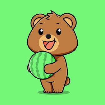 Fofo urso feliz segurando uma melancia sobre fundo verde